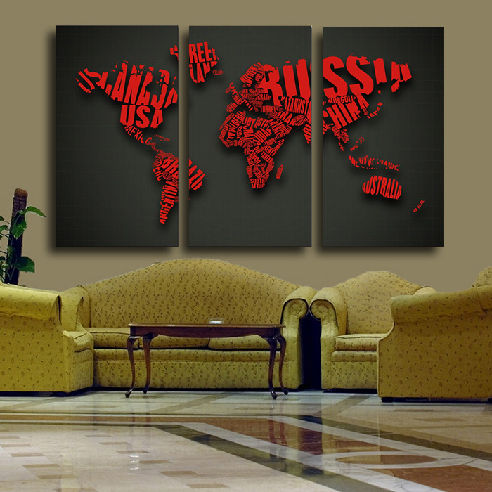 3 pcs world map red wall painting large hd picture home decor digital picture words map