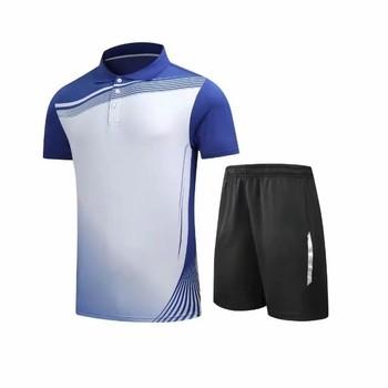 2019 nowy tenis sport rozrywka koszulka do badmintona mężczyźni i kobiety szybkoschnący koszulka z krótkim rękawkiem + spodenki odzież zestaw L2049YPC tanie i dobre opinie Skręcić w dół kołnierz Poliester Szybkie suche Pasuje prawda na wymiar weź swój normalny rozmiar flybomb