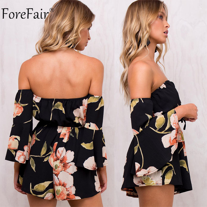 2c17b93ac88 ForeFair Summer Floral Print Elastic Waist Chiffon Jumpsuit Women Autumn  Flare Sleeve Sexy Strapless Rompers Overalls for Women -in Rompers from  Women s ...