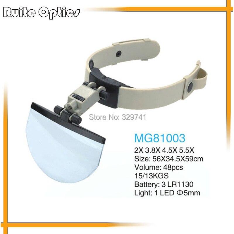 2x, 3.8x, 4.5x, 5.5x Multi poder casco Magnifier jefe de la lupa con luz LED para lectura reparación