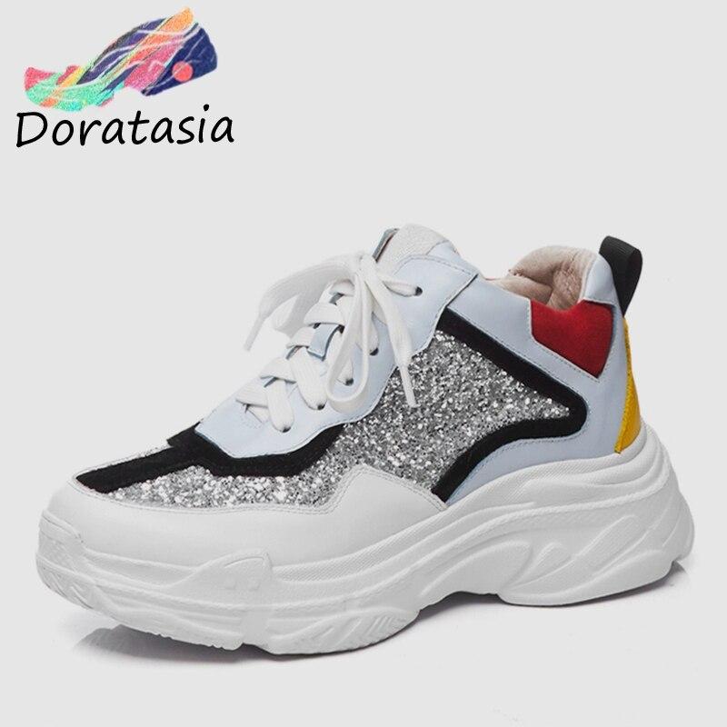 due argento Espadrillas stile scarpe papà moda bianco pelle ragazza Nuovo grigie donna zeppe per 2019 bovina piatto genuino Doratasia tqwRpp