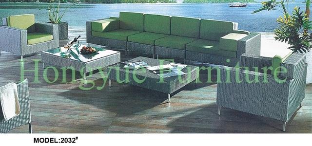 Muebles de ratán sofá de jardín conjunto con cojines verdes