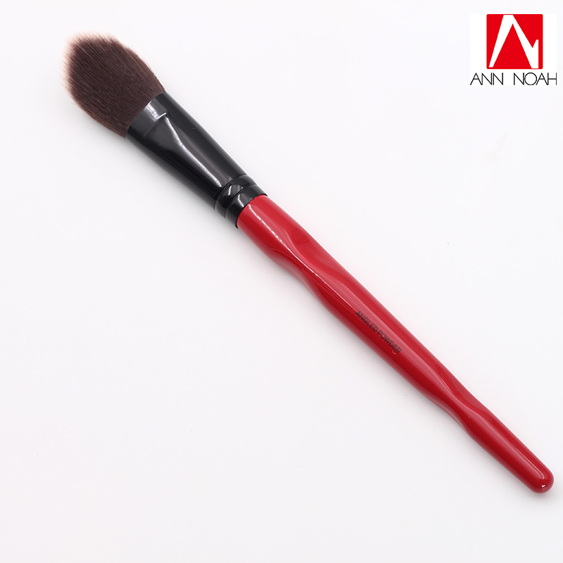 New Arrive Limited Quantity Red Body Curve Plastic long Handle Soft Synthetic Large Angled Powder Brush plastic handle cuticle fork red