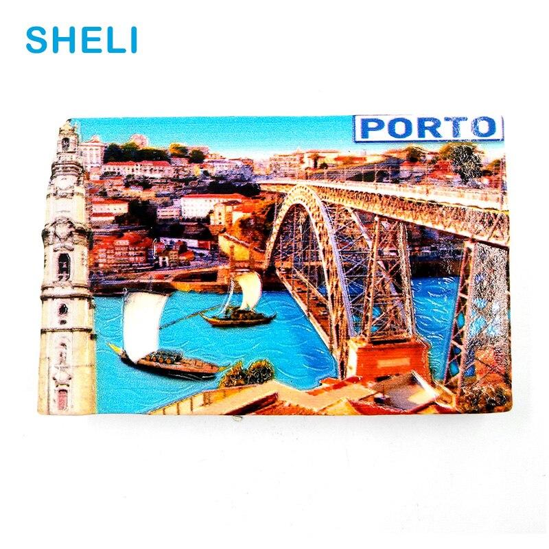 Portugal Travel Souvenir Scenery PORTO 3D High-end Resin Fridge Magnets Gift Refrigerator Magnetic Sticker Home Decor Decoration