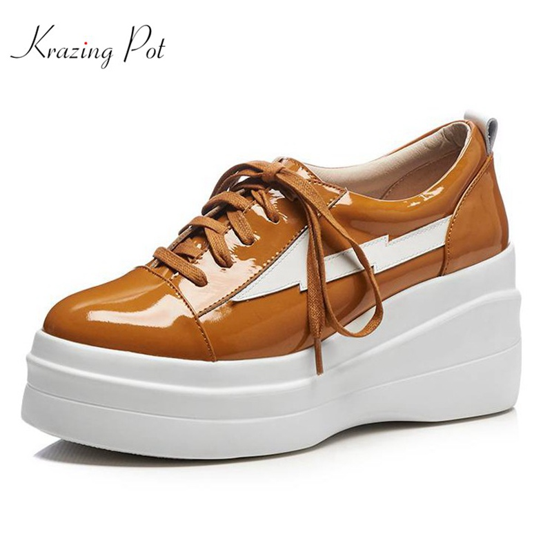 Krazing Pot genuine leather shoes women round toe lace up women pumps superstar high heels wedges handmade increased shoes L92 genuine cow leather spring shoes wedges soft outsole womens casual platform shoes high heel round toe handmade shoes for women