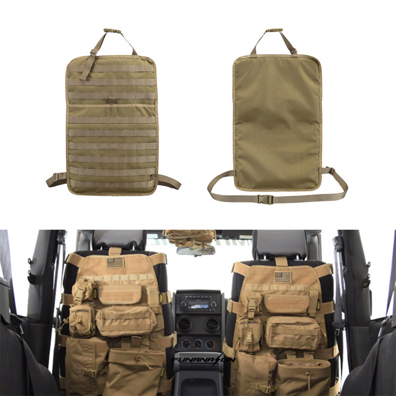 Tactical Car Seat Back Protector Cover Molle Bag Pouch Car Seat Covers For Front Seat Chair 600D Nylon