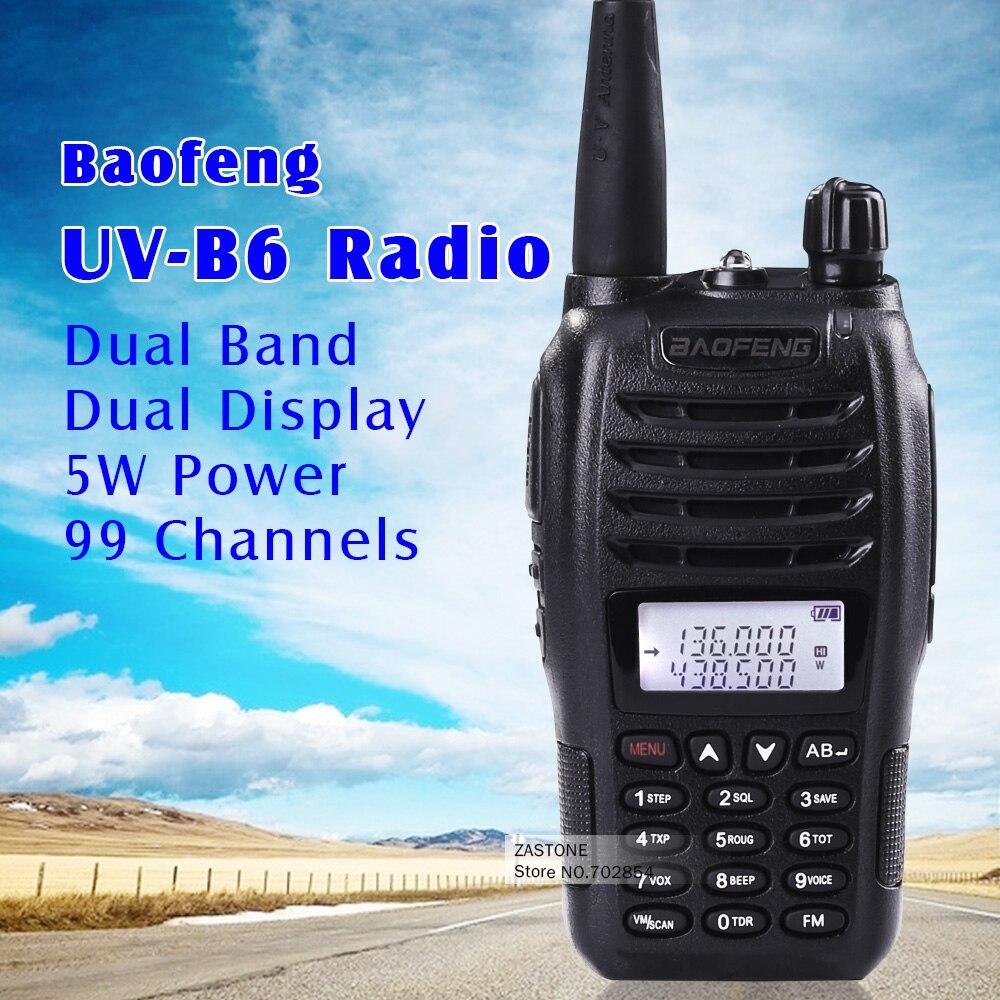 imágenes para Negro radio portátil BaoFeng UV-B6 Doble Banda VHF UHF de Radio de Dos Vías 136-174 MHz y 400-470 MHz Walkie Talkie de Radio Transceptor hf