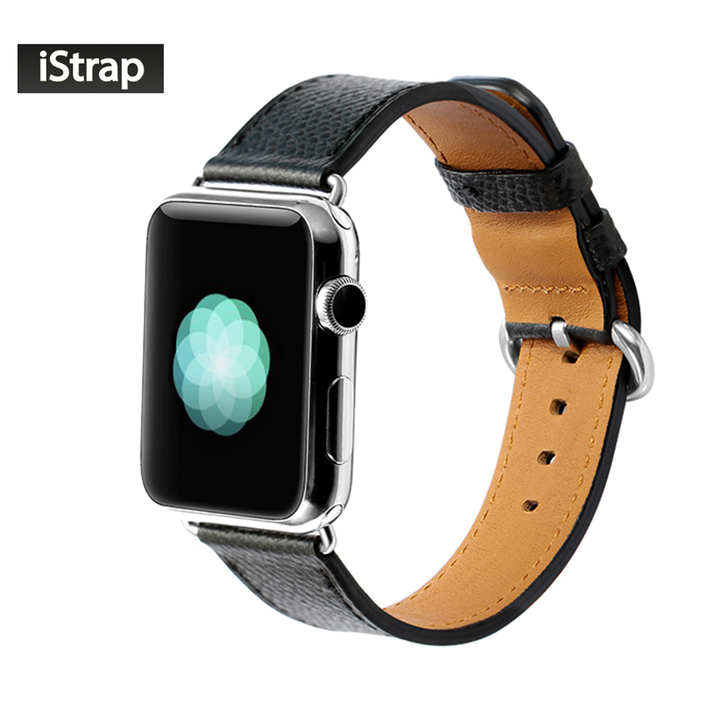 iStrap Black 38mm 42mm Watchband For Apple watch Calf Leather Watch Strap For Apple watch band 38mm 42mm Super soft istrap black brown red france genuine calf leather single tour bracelet watch strap for iwatch apple watch band 38mm 42mm
