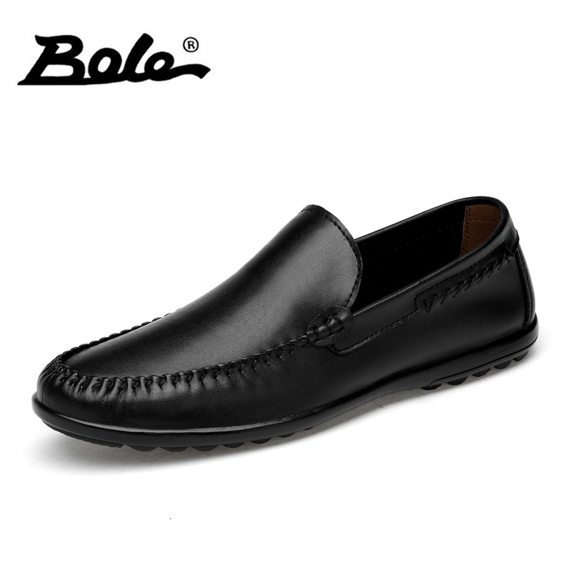 BOLE Light Weight Soft Genuine Leather Shoes Men Rubber Sole Non-slip Leather Sneakers Slip on New Fashion Casual Shoes for Men business men tie shallow mouth brown leather casual rivet shoes men s shoes round youth non slip rubber sole