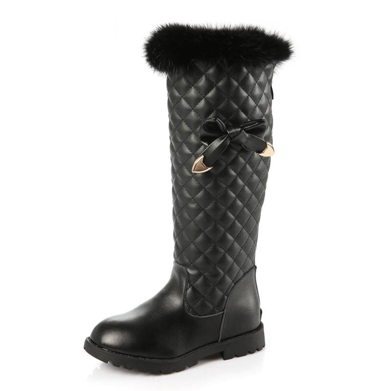 95f103a8a75 Top Brand Girls Warm Fur Lining Snow Boots Pu Leather Winter Knee Length  Warm Princess Bowknot Botas Kids Party Shoes For Girl