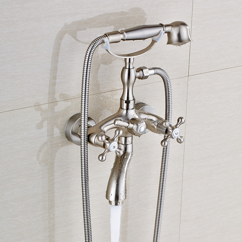 Nickel Brushed Wall Mount Solid Brass Bathroom Shower Faucet Swivel ...