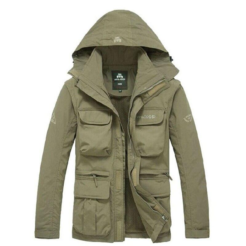 Hommes tactique veste automne séchage rapide 2-en-1 XXXL Style militaire armée manteau mâle 2019 Multi poches à capuche coupe-vent imperméable
