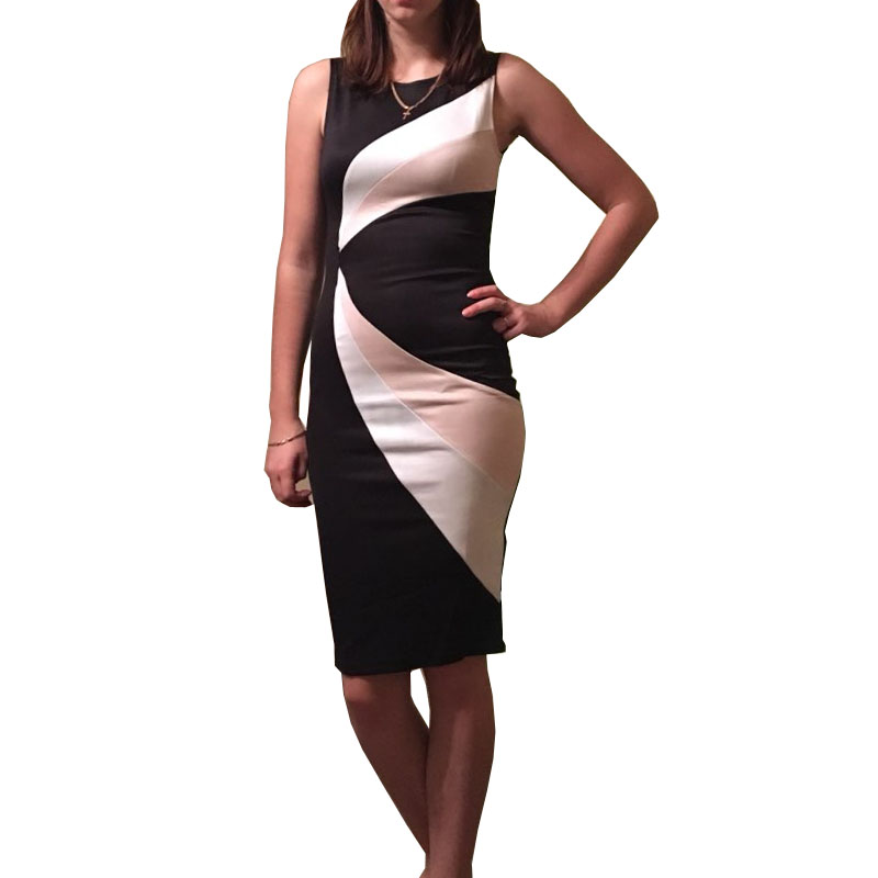 2017 Straight Casual Women Dress Sleeveless O-Neck Patchwork Knee-Length Elegant Dress Plus Size Women Clothing Clubwear C1836
