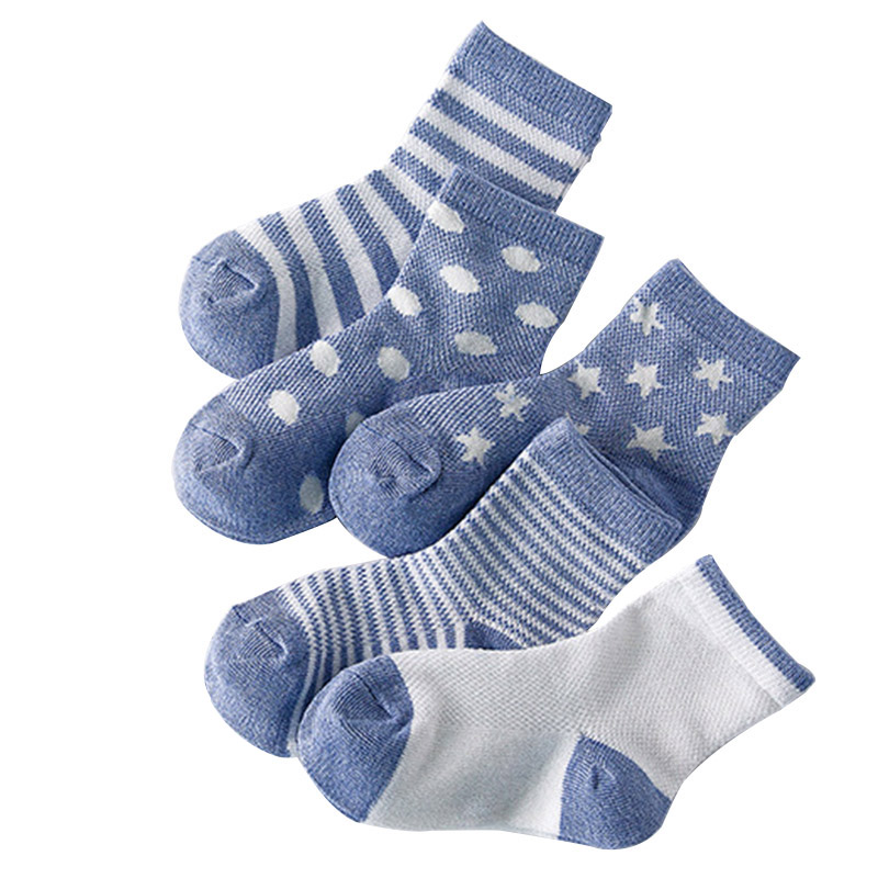 5 Pair=10pcs/lot Baby Socks Neonatal Summer Mesh Cotton Polka Dots Plain Stripes Kids Girls Boys Children Socks For 1-10 Year