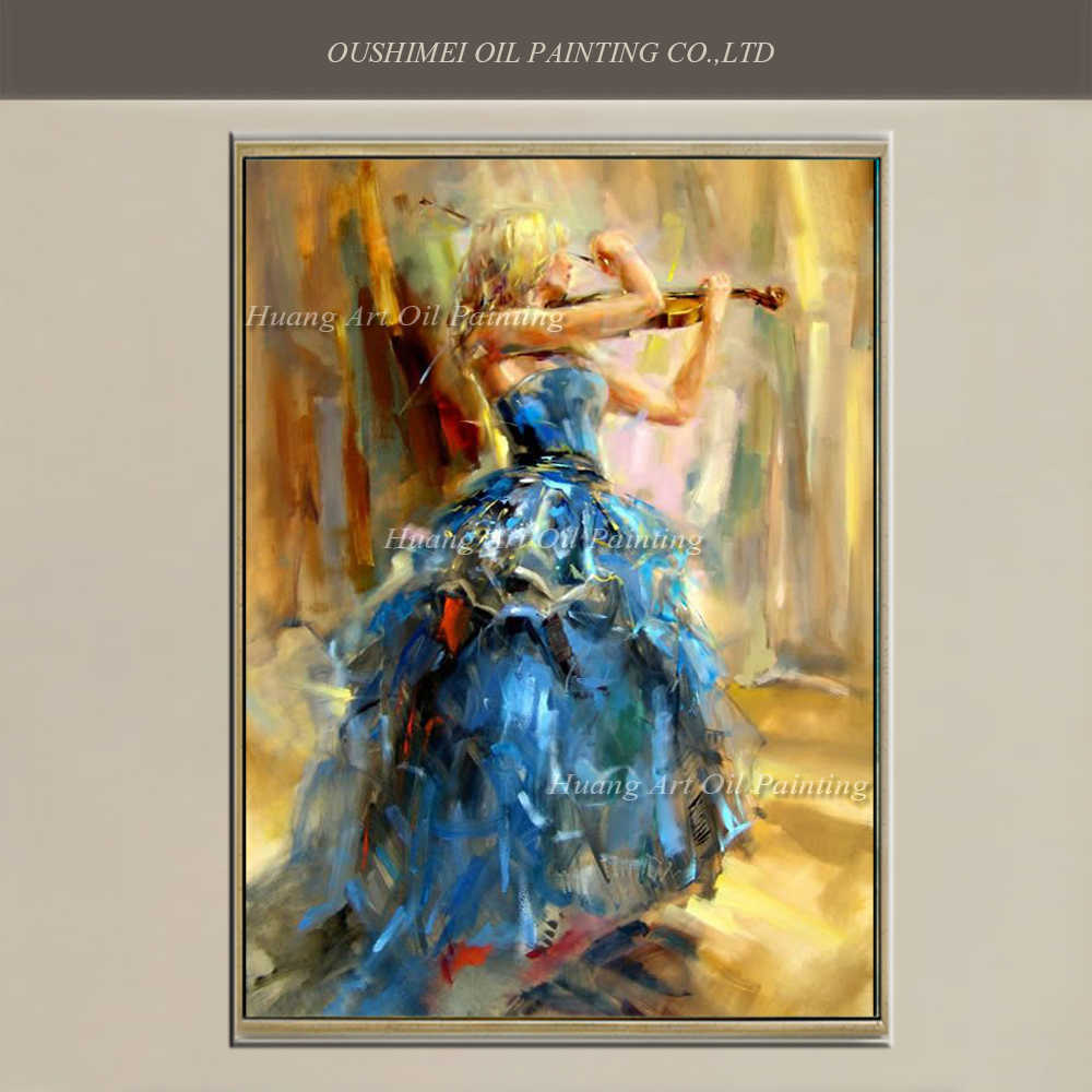 Created Art Handmade Flamenco Blue Skirt Dancer For Wall Decor Violin Pure Hand-painted Spanish Dancers Oil Painting On Canvas