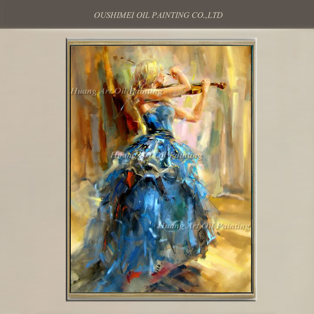 Dicipta Art Handmade Flamenco Blue Skirt Dancer Untuk Wall Decor Violin Pure Hand-dicat Spanish Dancers Oil Painting On Canvas