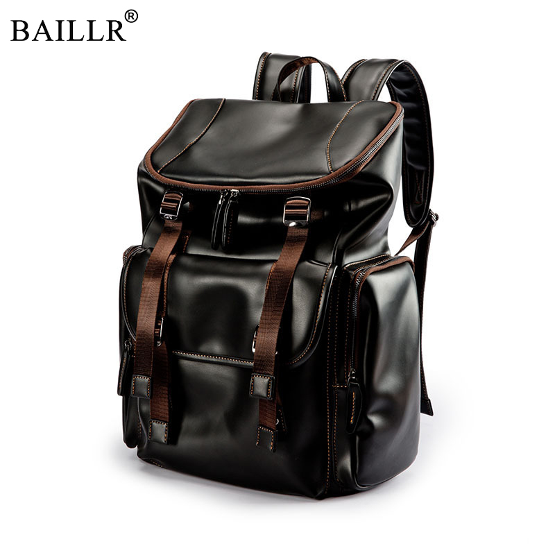 New Trend Preppy Style Brand waterproof 15.6 inch laptop backpack men PU leather backpacks for teenager Men Casual Daypacks male brand men pu leather backpack male 14 inch laptop backpack for men business waterproof back pack sac a dos