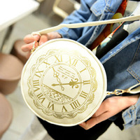 Small Bag Watch Pattern Women Messenger Bags Soft PU Leather Casual Shoulder Bag Wholesale