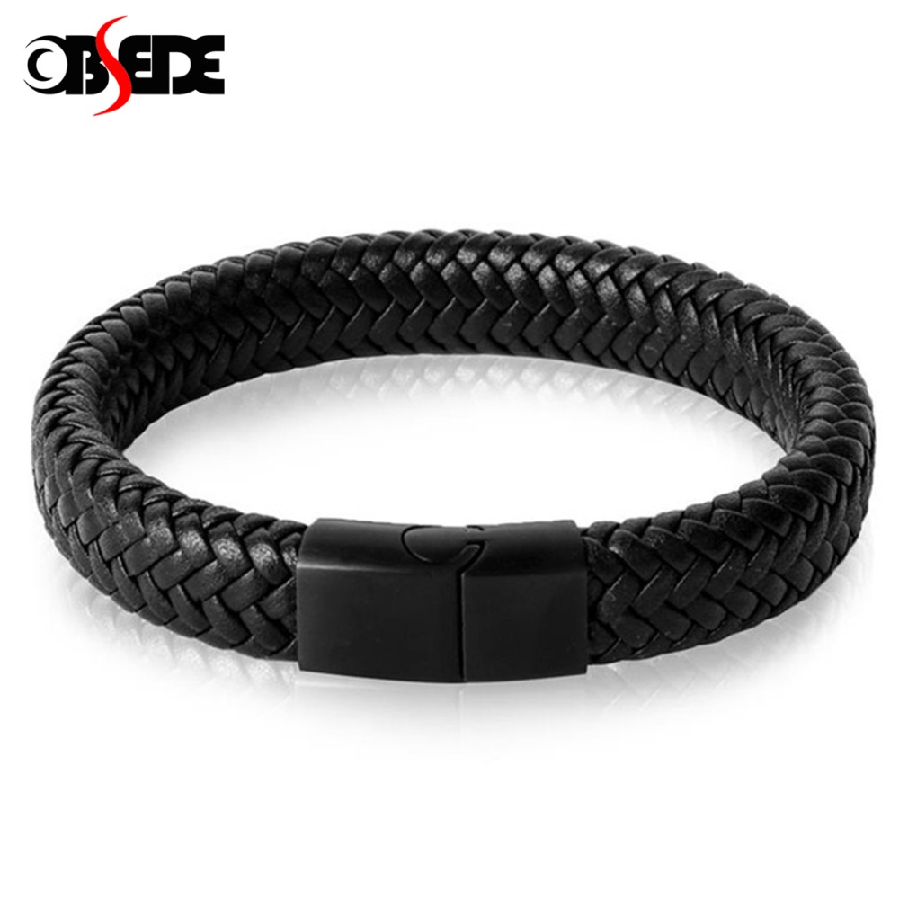 OBSEDE Fashion Genuine Leather Bracelet for Men Jewelry Stainless Steel Bangle Magnetic Clasp Black Braided Rope Chain Male Gift