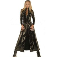 Abbille Women Sexy Wet Look Jacket Imitation Leather Catsuit Game Uniforms Clubwear PVC Erotic Leotard Costumes Latex Bodysuits