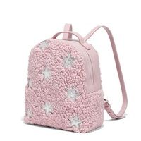Lamb lambswool Pink Children Backpack Small Sliver Star Bling Bling Girls PU Leather Backpack Bady Shoulder School Bag Mini
