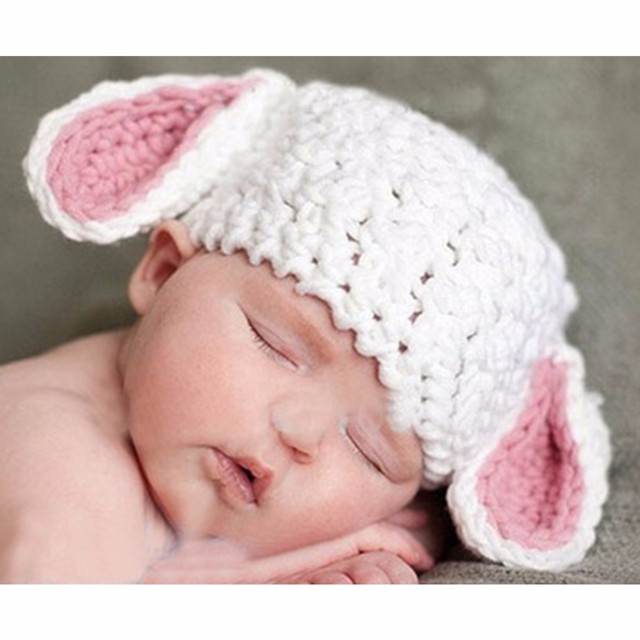 b5bbab3f352 Christmas Baby Lamb Cap Photography Props Easter Lamb Cap Hat Crochet Lamb  Hat Animal Boy Hat White Lamb Photography Props Gifts