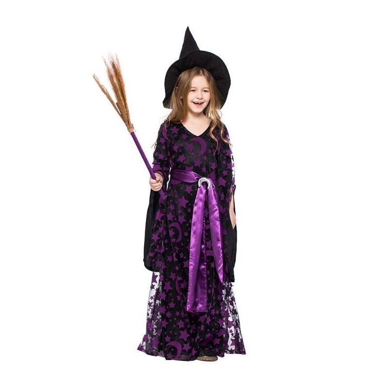 Strega di Halloween Costume Cosplay Vestito Viola Del Partito di Festival delle Magic Girl Ruolo Che Giocano I Bambini di Usura del Vestito Operato