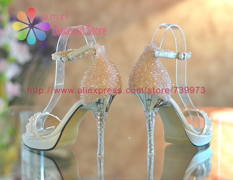 4272048ee33f4 Handmade Summer Beading Crystal Light Pink Women Sandals Strappy Heels  Ankle Strap For Evening Party Bridal Bridesmaid BTH016-in Women s Pumps  from Shoes on ...