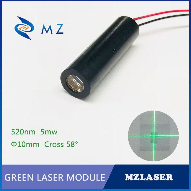 Cross Green Laser 10mm 520nm5mw 58degree Industrial APC Drive Cross Green Laser Module