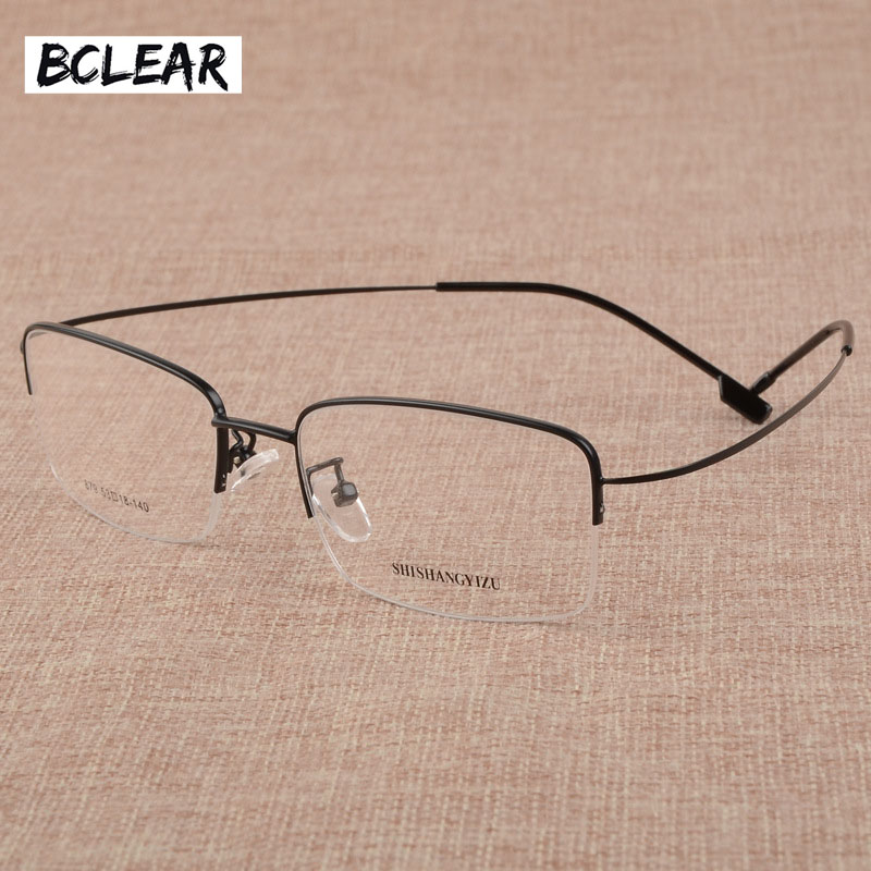 Korniza e spektaklit të madh të modës BCLEAR Fashion Men's Face Face Large Memory Frameless Ultra-Light Memory Titanium Alloy Optical Eye Frame 2018