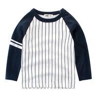 春の秋純粋な綿ロイヤルブルーオレンジネオングリーン縦ストライプ赤ちゃん男の子tシャツ子供トップス子供プルオーバー80-135セン