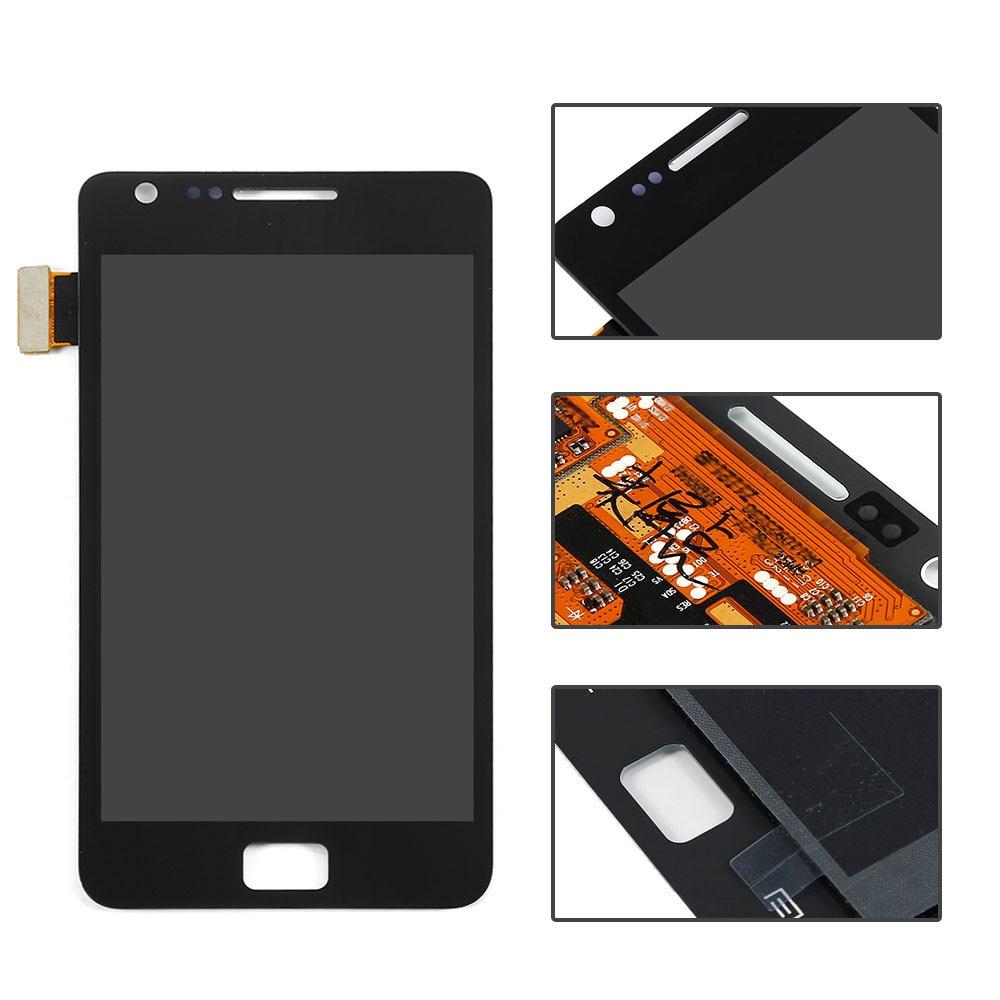 imágenes para Negro Para Samsung Galaxy S2 i9100 Pantalla LCD Táctil Digitalizador Pantalla Completa Asamblea Reemplazos Envío Libre + Número de seguimiento