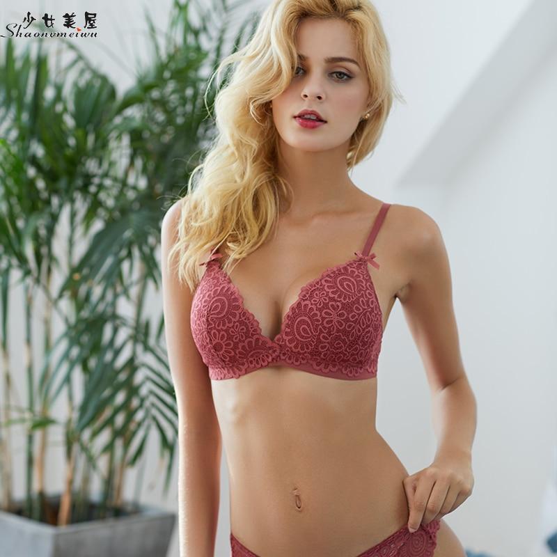 shaonvmeiwu Lacy lingerie bra set women autumn thin, rimless bra sexy bodice