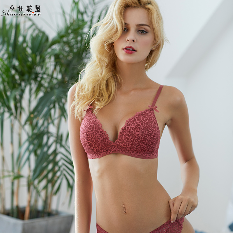 shaonvmeiwu Lacy lingerie   bra     set   for women in autumn with thin, rimless   bra   and sexy bodice