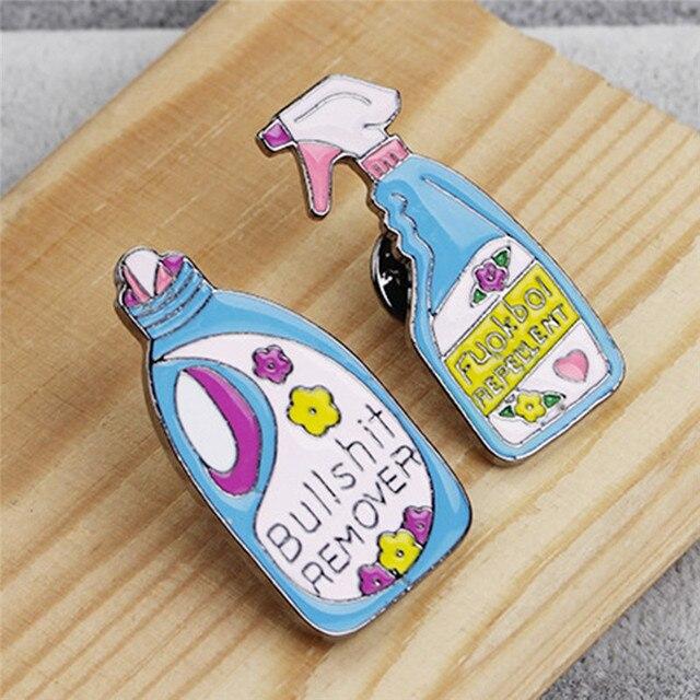 US $0 66 16% OFF|Aliexpress com : Buy Cartoon Detergent Brooch Bullshit  Remover Repellent Funny Cleaning Spray Pin Badge Enamel Pins Brooch Lapel  Pin