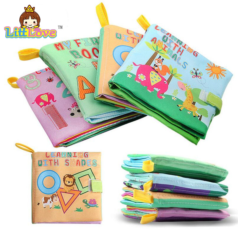 LittLove Baby Toy Infant Cloth Book Toys Early Development Books Toy Learning Education For 0-3Y Soft Unfolding Animal Books