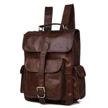 Nesitu Vintage Brown Genuine Leather Women / Men Backpacks Cowhide Men Travel Bags #M7283