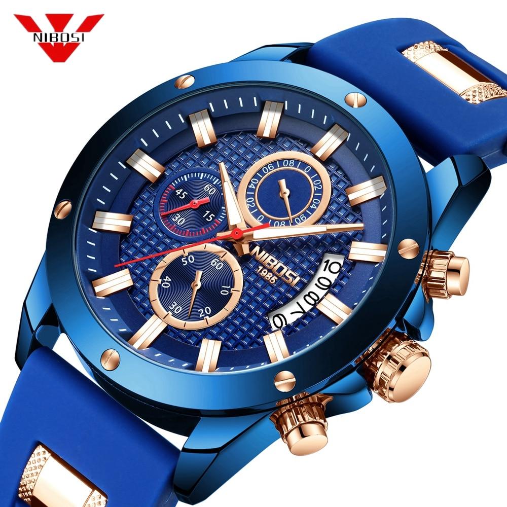 Relogio NIBOSI Mens Watches Top Brand Luxury Unique Sport Watch Men Quartz Clock Waterproof Wrist Watch Silicone Montre Homme