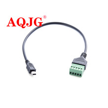 30cm Mini 5p revolution green terminal screw pluggable connector data transmission and charging extension cable
