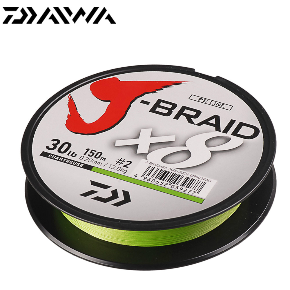 Original DAIWA J-BRAID 150m Braided Fishing Line 8 Strands Linha Multifilamento Para Pesca 14-30lb PE Fishing Line Made In Japan