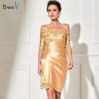 Dressv Golden Long Mother Of The Bride Off The Shoulder Short Length 3 4 Sleeves Beading