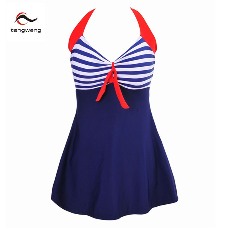 Tengweng 2017 Retro Stripe Padded Skirt Swimsuit Women One Piece Beachwear Vintage Bathing Suit Swimwear Dress Plus size 4XL women one piece triangle swimsuit cover up sexy v neck strappy swimwear dot dress pleated skirt large size bathing suit 2017