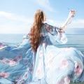 Mm019 новое поступление женщин урожай с макси 9 м нижняя цветочные шелк шифоновое платье пляж стиль лето 2016