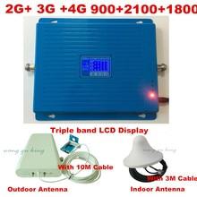 2G 3G 4G GSM 900 WCDMA 2100 LTE 1800 Tri Banda Móvil teléfono Amplificador de Señal Repetidor GSM Amplificador de Señal 3g 4g 4G LTE Antena conjunto