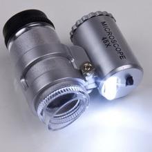 Прямая поставка 1 комплект 2 светодиодный светильник 45x Мини микроскоп Лупа увеличительное стекло Ювелирная Лупа