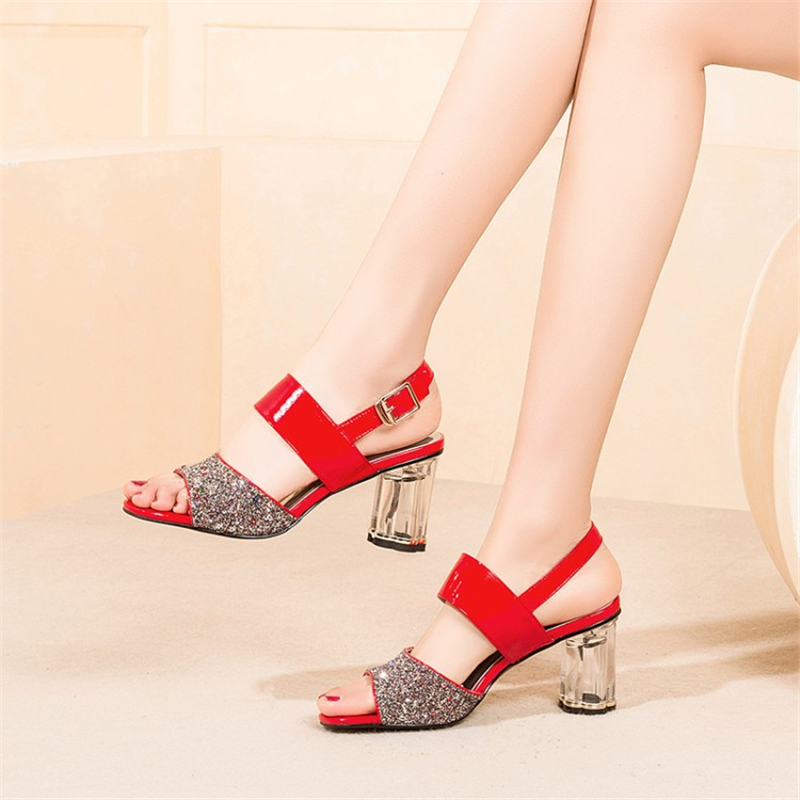 Ouqinvshen Bling Red Summer Sandals Plus Size Peep Toe Buckle Strap Mixed Colors Rubber High Heels Strange Style Ladies Pumps
