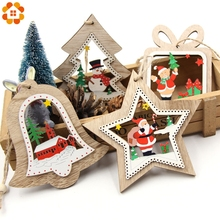 1PC DIY Colorful Multi Type Christmas Wooden Pendants Ornaments For Christmas Party