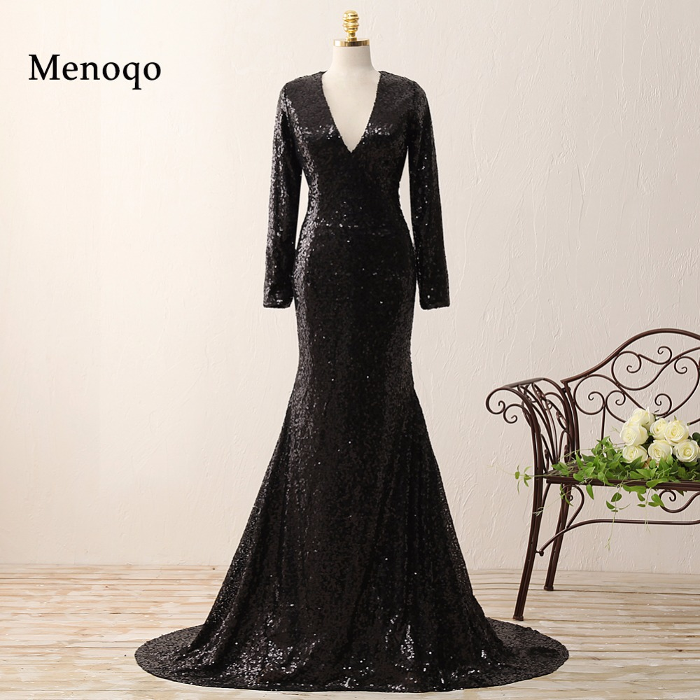 0215-PRD Real Photo Mermaid V Neck Long Sleeve Black Shiny Sequined Pageant Gowns 2018 Court Train Zipper-Up   Evening     Dresses
