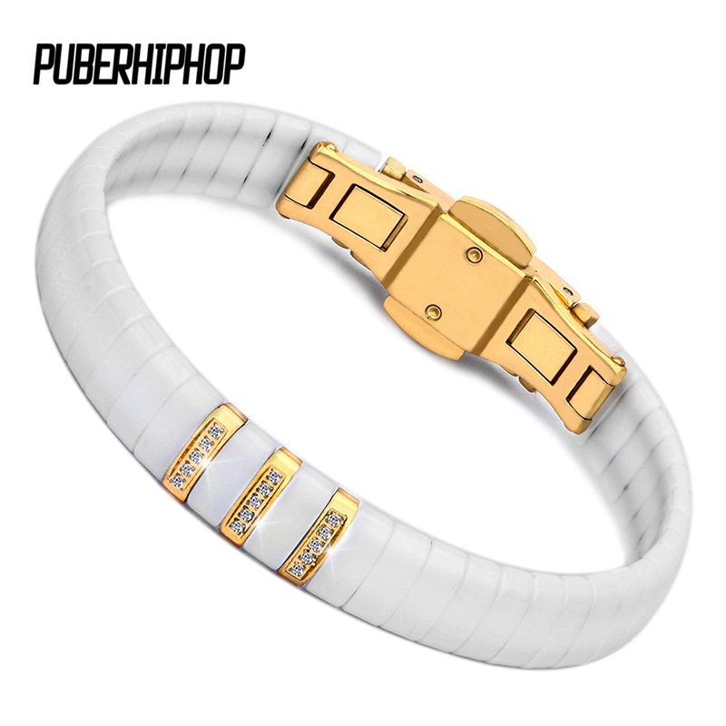 Hot Black White Ceramic Bracelet Men/Woman 316L Stainless Steel Crystal Rhinestone Gold Bracelet Hand Chain Jewelry Watch Clasp thick gold chain set wholesale men s jewelry white black crystal buckle necklace bracelet stainless steel jewelry sets