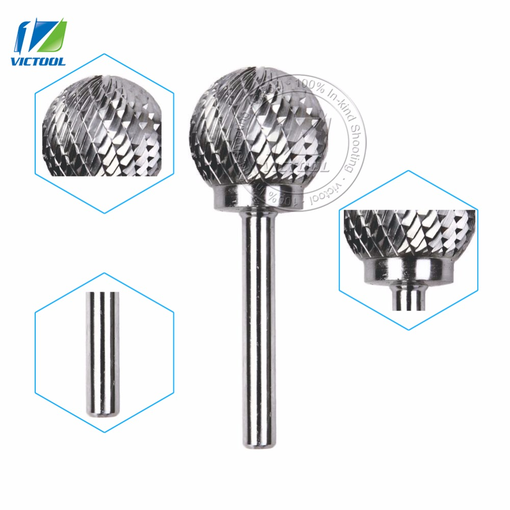 1pc D252106 tungsten carbide D ball head 25*21mm rotary burrs file cutter grinding and abrasive tools 6mm shank milling bits sharp black steel carbide rotary file cutter grinding head abrasive high speed